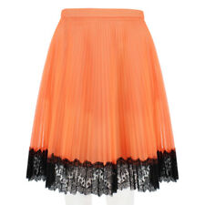 Christopher Kane Neon Orange Pleated Tulle Lace Trim Mini Skirt UK8 IT40