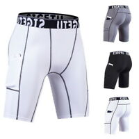 Men's Compression Sports Shorts Brief  with Phone Pocket Quick Dry Gym Tights UK