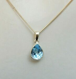 New 9K Gold Natural Blue Topaz Teardrop Pendant and Chain Necklace 40,45 or 50cm