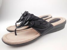 CLARKS ARTISAN Black Leather Thong Sandals Women's Size 6 M