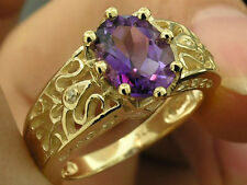 R155 Genuine 9ct GOLD NATURAL Amethyst & Diamond Ring Filigree Solitaire size M