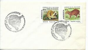 EL SALVADOR 1993 ENDANGERED FAUNA WILD ANIMALS FDC COVER AMERICA UPAEP ISSUE
