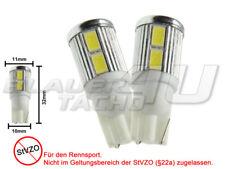 2x 10 SMD LED side lights white W5W T10 glass base brightness heat sink for