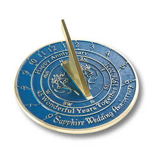45th Sapphire 2021 Wedding Anniversary Sundial Gift By The Metal Foundry
