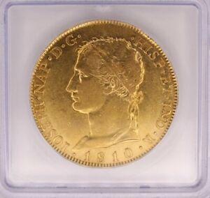SPAIN 1810-AI GOLD 320 REALES ICG AU-50 KM#545 LOOKS 55/58 W/UNCISH REVERSE