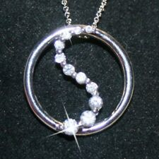 Diamond Alternatives Love Circle Journey Pendant Necklace 14k Gold over 925 SS