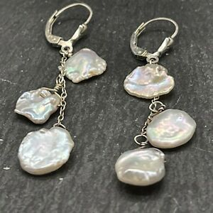 Artisan Vintage 925 Sterling Silver Drop Dangle Rough Natural Flat Pearls