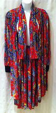 Virginie Paris Vtg. 70's Micro Pleated 3 Pc./ Skirt ~ Jacket ~ Scarf Sz L  EUC