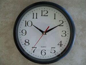 Bernhard 10 inch Black & White Wall Clock, Silent Movement, Home Office School
