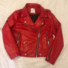 Mango Red Leather Biker Jacket XL (fits like a 10)