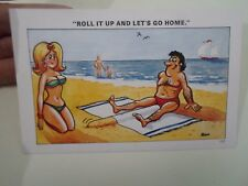Vintage Risque Sapphire Postcard No 137 SUNBATHING BEACH TOWEL HUMOUR    §A469