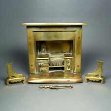 19th Century Victorian Large Doll House Brass Stove Vignette Fireplace Model