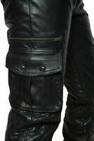 NEW MENS LEATHER CARGO QUILTED PANT REAL LEATHER BIKER PANT TROUSER