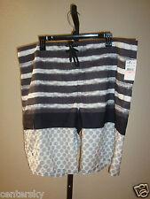New O'Neill Men's Swim Board Shorts Aruba Black/Gray/White Striped/Dots Size 40