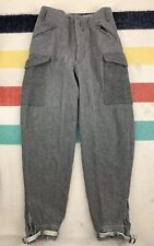 Vintage 1940 Ww2 Swedish Military Gray Wool Combat Pants Trousers Euc Army