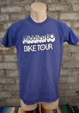 Vintage 80s Middfest 80 Bike Tour T Shirt Size Medium Blue Graphic Bicycle Tee B