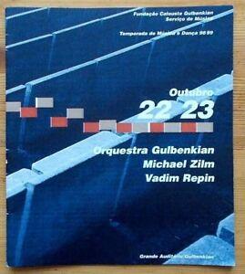Orquestra Gulbenkian programme 22 & 23 October 1998 Michael Zilm Vadim Repin