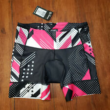 "ZOOT Women's XL LTD Tri Shorts 6"" Black Pink White Triathlon X-Large"