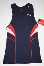 New listing TYR Men's Medium Blue Red White Tank Triathlon Singlet Front Zip COMPETITOR New