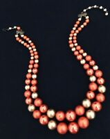 Vintage Estate Necklace Gold & Copper Colored Beads Signed Star Classic r9H
