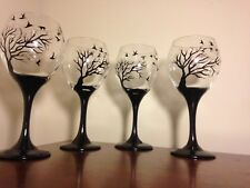 Art wine Glasses black Tree And Birds set Of 4 dishwasher safe