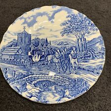 Myott Royal Mail Blue/White Engraved Fine Staffordshire Ware Saucer Horse Coach
