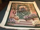 Tapestry/Pillow Top Autumn Greeting w/Flowers & Pumpkins #19TP