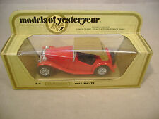 MATCHBOX LESNEY MODELS OF YESTERYEAR Y-8 RED 1945 MG TC WITH TAN ROOF NEW MIB