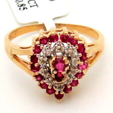 Thin Ruby Diamond Cocktail Ring 14K Yellow Gold 1.00ctw Pear-design Red-Pink