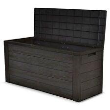 Storage Box Outdoor Cushion Wooden Effect Garden Plastic - 300L Litres