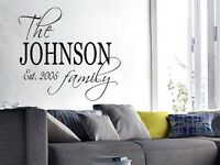 FAMILY NAME EST. PERSONALIZED Wall Art Decal Quote Words Lettering Decor  DIY