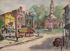 Rockport Artist Alfred Fritz J DiSalvo MA The Village Street Signed Listed 00544