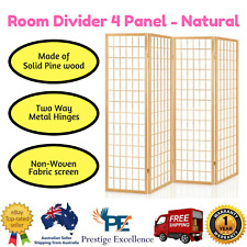 Room Divider Privacy Screen 4 Panel Folding Partition Natural Wooden Stand Home