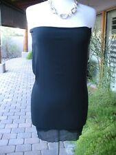 AUTH $1.1K DOLCE & GABANNA Black Stretch Silk ITALY Corset Tube Dress Top 42