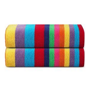 Premium Luxury Cotton Beach Pool Bath Towels 2 Pack Set, Miami Vibe Multi Stripe