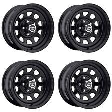 "Set 4 16"" Vision 84 D Window Black Wheels 16x8 8x6.5 -6mm Chevy Dodge GMC 8 Lug"