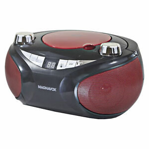 Magnavox MD6949 Portable CD Boombox with AM/FM Radio and Bluetooth, Red / Black