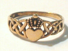 Cw Gold plate Sterling Silver Claddah Celtic Irish Wedding Band Ring Size 9