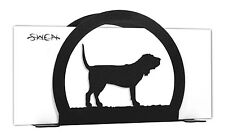 Swen Products Blood Hound Dog Black Metal Letter Napkin Card Holder