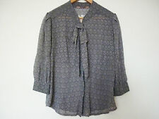 WOMEN'S COOPER ST GREY MOGUL PUSSY BOW 3/4 SLEEVE SHEER BLOUSE - SIZE 14 - NWT