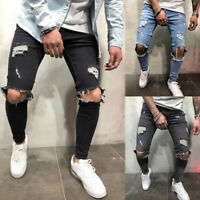 Mens Skinny Stretch Denim Solid Distressed Ripped Freyed Slim Fit Jeans Trousers