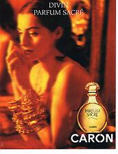 PUBLICITE ADVERTISING 074  1994  CARON   parfum  SACRE