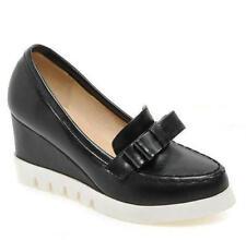 Black Wedge Round toe Platform Heels Lug sole Slip-on Women's shoes Bow US sz.8