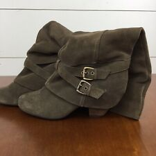 Naughty Monkey Boot Genuine Suede Leather Brown Knee High Stacked Heel Size 10.5