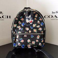 NWT Coach F57636 Mini Charlie Backpack In Tea Rose Floral Print Black Multi