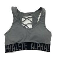 Alphalete Cross Back Sports Bra NWOT Steel Gray Black  Size Small