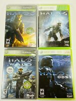 Xbox 360 Lot(4). Halo 3-4, ODST & Halo Wars Video Game Bundle.TESTED And Working