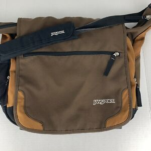 Jansport TM20 Padded Shoulder Laptop Messenger Bag Crossbody Bag Brown Tan