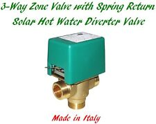 Solar Hot Water Motorized 3-Way Zone Solenoid Diverter Valve With Spring Return