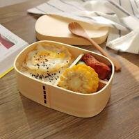 Natural Wood Lunch Box Bento Boxes Camping Picnic Food Shushi Storage Container